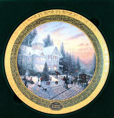 "Bradford Exchange Thomas Kinkade ""victorian Christmas"" Collector Plate W/ Coa"