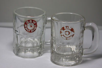 2 Vintage A&W Root Beer Small Mini Glass Mugs / Shot Glasses