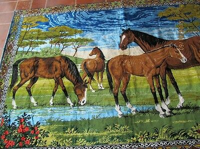 Old French Wall Rug Horses  Massive Great For Project