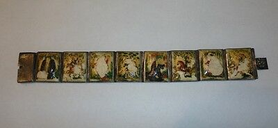 Antique Chinese Hand Painted Bone Story Panel Bracelet TLC or Study NR