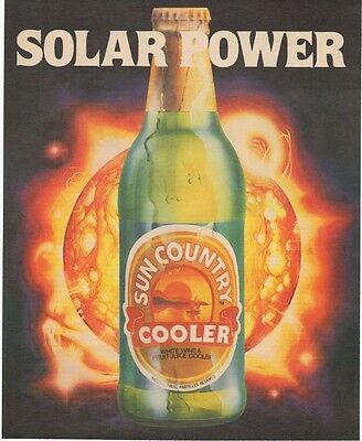 Sun Country Citrus Wine Cooler Ad 1985 Retro Solar Power Original Vintage D101
