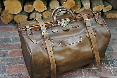 Stunning Edwardian Belted leather Gladstone Bag Drew & Sons Piccadilly Circus