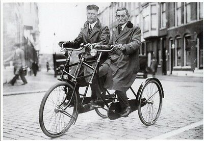 Dutch Three Wheel Tandem Adult Tricyle for Two Bike Bicycle Postcard C.1900 Repr