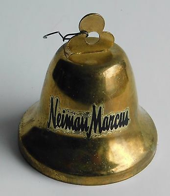 Vintage Nieman Marcus Brass Christmas Tree Bell Ornament