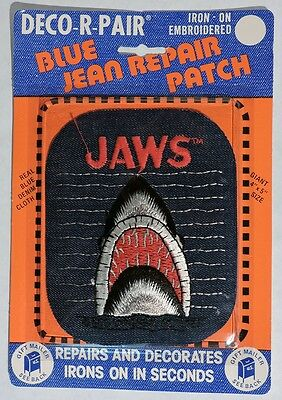 """S108. VINTAGE: Blue Jean Repair Patch """"JAWS"""" Iron-On from Deco-R-Pair (c. 1975)["""