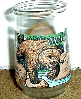 Older Welch's Mexican Grizzly Bear Jelly Jar Endangered Species Collection Glass
