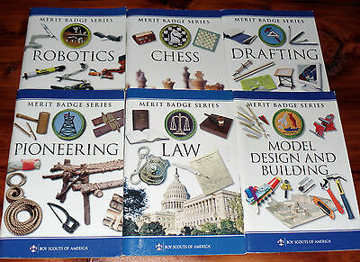 Lot of 6 BSA Boy Scout Merit Badge Series Books Chess Robotics Law Model Draftin