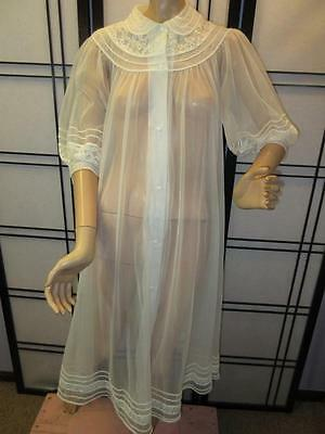 Vtg 60s SHEER WHITE CHIFFON NYLON LACE Lingerie Dress Robe Night Gown Big Sweep