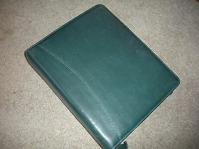 Franklin Quest Classic Green Leather Planner Binder 7 Ring Zip Organizer USA