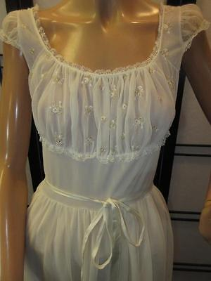 Fab Vtg 60 2 Layer IVORY CHIFFON NYLON LACE Lingerie Dress Night Gown Shelf Bust
