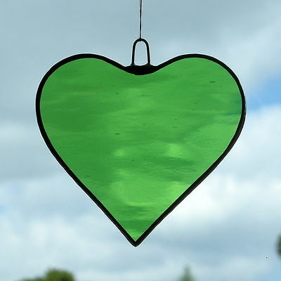 Stained Glass Hanging ornament (Love Heart) Light Green rippling water glass