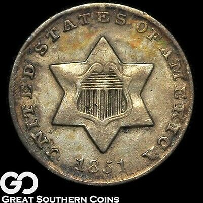 1851 Three Cent Silver Piece ** Free Shipping!