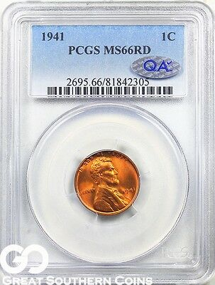 1941 PCGS Lincoln Cent Wheat Penny, RED, PCGS MS 66 RD