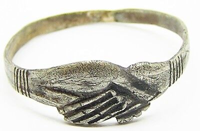 Wonderful Medieval 14th-15th century Silver Fede Betrothal Ring Clasped Hands