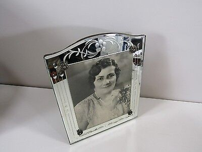 Antique Vintage Deco Glass and Mirror Frame with Wood Back