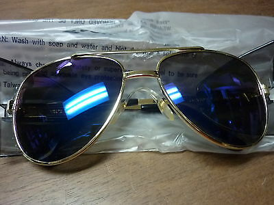 Vintage Uvex Safety Glasses Sunglasses Nos Aviator Gold Metal Frame Mirror Lens