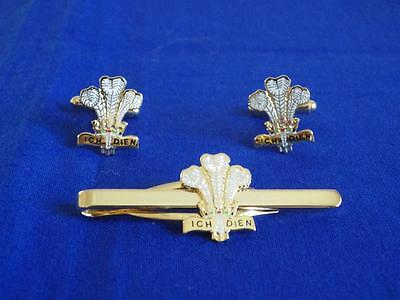 Royal Regiment Of Wales ( Rrw ) Cuff Link And Tie Grip / Clip Set