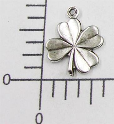 53314        2 Pc Matte Silver Oxidized 4-Leaf Clover Charm Jewelry Finding