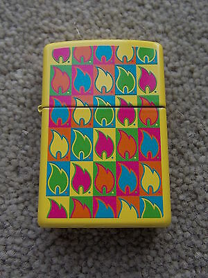 Zippo Lighter Case EMPTY, Brand New - Zippo Flame Pattern in Lurid Yellow