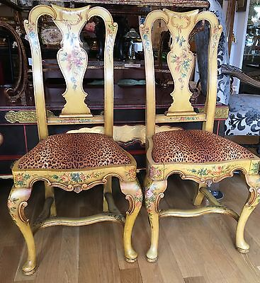 Pair of Antique Italian Paint Decorated Dining Chairs