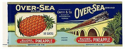 OVER-SEA Brand, Jacksonville Florida *AN ORIGINAL 1930's TIN CAN LABEL* H31