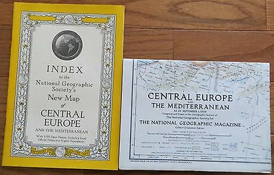 Vintage National Geographic Map and Index: 1939 Central Europe Mediterranean