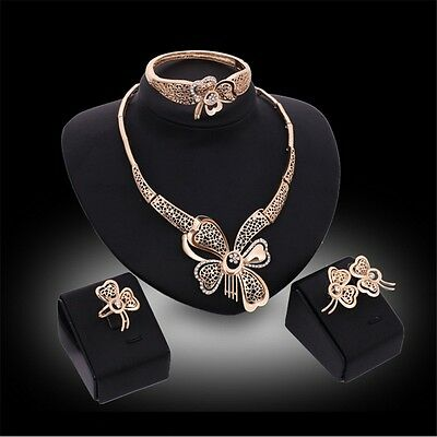 18K Gold Plated Jewelry Set Bride Butterfly Crystal Necklace Earring Bangle Ring