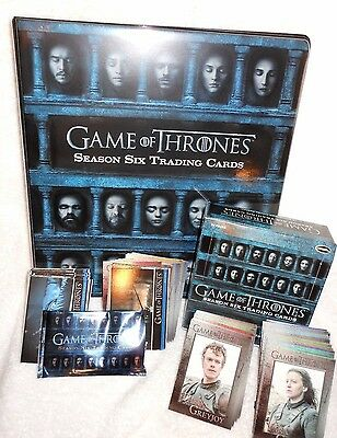 Game Of Thrones Season Six Album  3 Promo Cards & 100 Base Card Set & Empty Box
