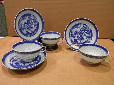 3 See Through Porcelain Hand Painted Cups & Saucers Asian Blue/White Antique [c]