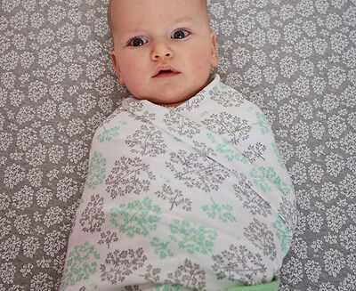 Little Turtle Baby Stretch Cotton Jersey Baby Wrap - White/Mint/Grey