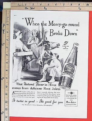 1937 HIRES bottled Root Beer soft drink Merry-go-round Carousel Magazine Ad 4903