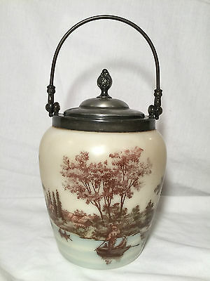 VTG Victorian MT WASHINGTON Custard Glass Biscuit Jar Canister Silver Plate Lid