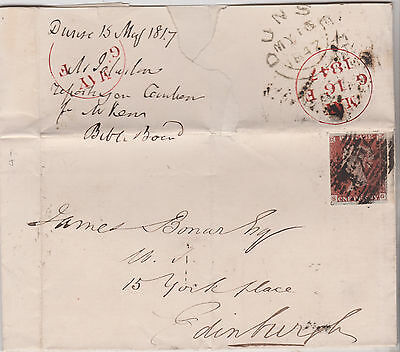1847 QV GB DUNSE LETTER RE BIBLE PUBLISHING WITH 1d PENNY RED IMPERF STAMP
