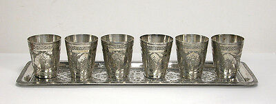 Antique Hand Chased Isfahan Persian Silver Tray & 6 Cups