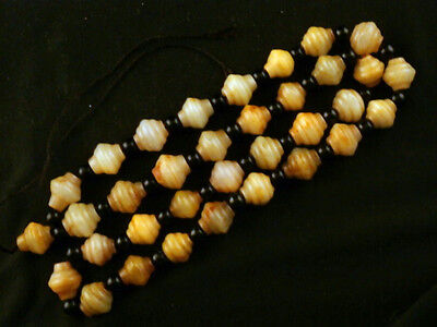 24 Inches Great Chinese Old Jade Hand Carved Beads Prayer Necklace