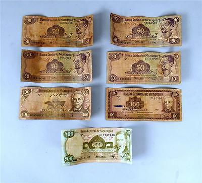 Group Of 7 Nicaragua Money 50.00 - 500.00 Banknotes
