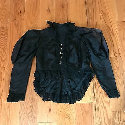 Antique Victorian Top Black Silk Crepe Lace High Collar Mourning Blouse Shirt