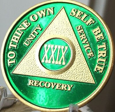 29 Year AA Medallion Green Gold Plated Alcoholics Anonymous Sobriety Chip Coin
