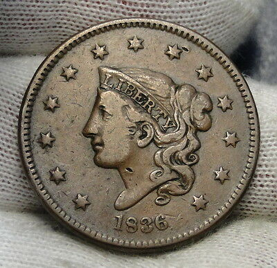 1836 Penny Coronet Large Cent 1C - Nice Coin, Free Shipping  (6248)