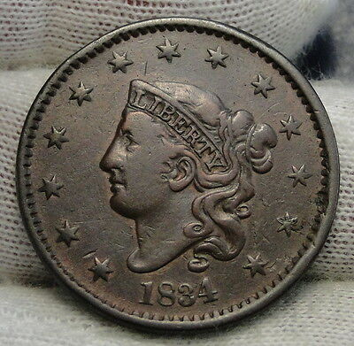 1834 Penny Coronet Large Cent 1C - Nice Coin, Free Shipping  (6286)
