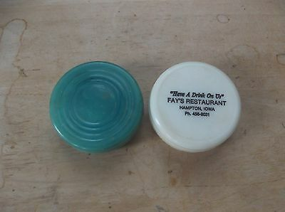 Two Vintage Plastic Advertising Collapsible Cups Stanhome and Fay's Restaurant