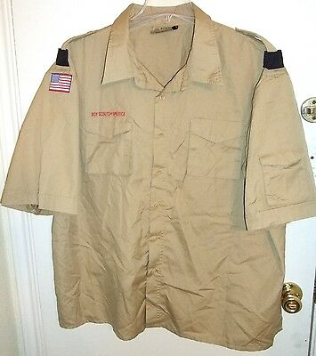 BSA Boy Cub Scout Khaki Rich Cotton Poplin SS Uniform Shirt Men's 3XL