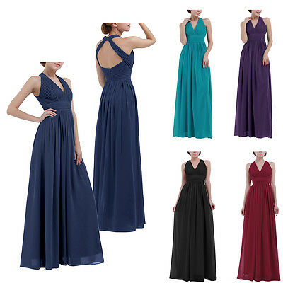 Women Halter Bridesmaid Wedding Long Maxi Dress Evening Prom Gown Formal Party