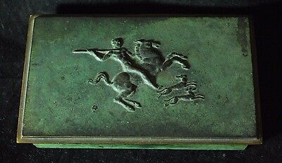 Antique French Bronze Patina Metal Trinket Vanity Cigarette Box Art Decor brass
