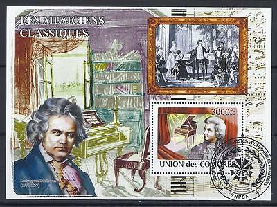 D4219 2008 3000F Souvenir Sheet of Music Composers Beethoven & Mozart