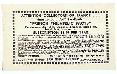 French Stamp Philatelic Facts Magazine Advertising 1949 US Postcard France