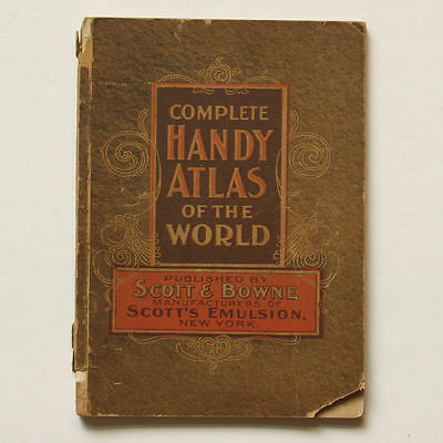 Complete Handy Atlas of the World published by Scott & Bowne 1899 Maps Book