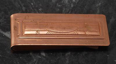 Antique Collectible Copper Plated Steel Thin With Etched Design Money Clip NOS