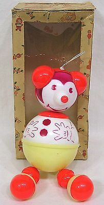 Vintage Plastic Crib Toy MOUSE Red Yellow In OB w Fab Baby Graphics 1950s