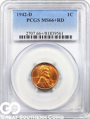 1942-D Lincoln Cent Wheat Penny PCGS MS 66+ RD ** Tough This PQ, 67 PG: $150!